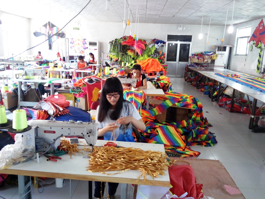A kite production factory in Meicun Village
