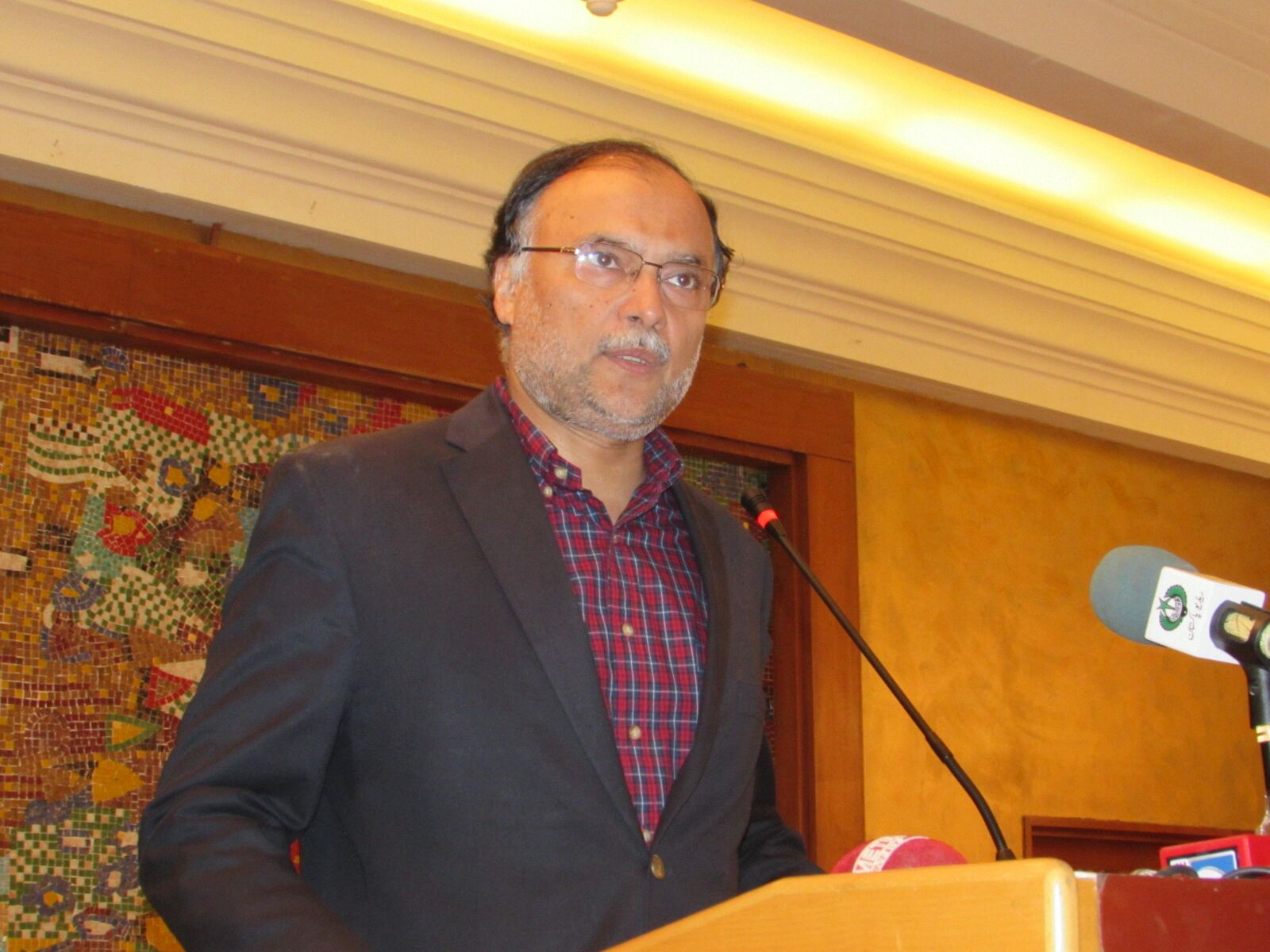 Ahsan Iqbal speaking at the ceremony