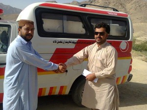 Mujeeb Baloch, the District Support Manager PPHI Kalat is handing over a fully equipped Ambulance to BHU Pandran, Kalat.