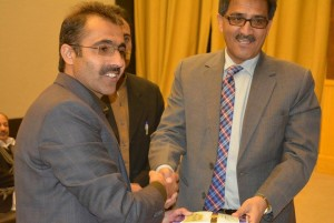 Dr.Liaqat Sani presenting his Books to Vice Chancellor University of Balochistan.