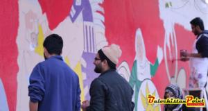 Islamabad: Wall painting at Lok Virsa by Sabir Nazar and team